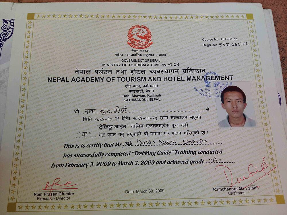 Dawa Nuru Sherpa Certificate Image