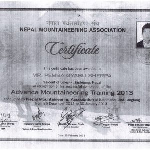 Pemba Gyabu Sherpa Certificate Image