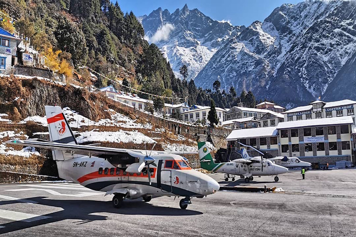 Lukla airport in winter